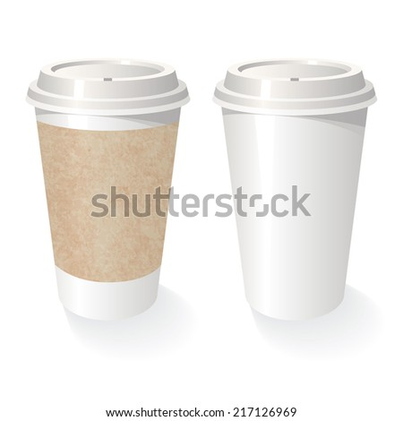 Take out coffee vector cup with cardboard text place set - stock vector