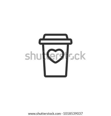 Take Out Coffee With Cap And Heart Disposable Cardboard Cup Of Paper
