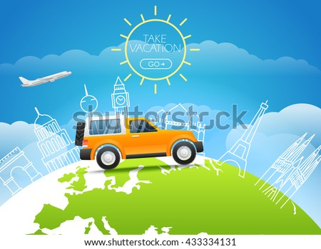 Take vakation around the world. Adventure concept - stock vector