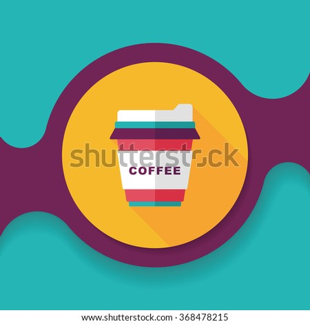 takeaway coffee flat icon with long shadow,eps10 - stock vector