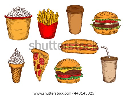 Takeaway packages of french fries and popcorn, fast food hamburger, cheeseburger, hot dog and slice of pizza, paper cups of coffee and soda, soft serve ice cream cone sketches