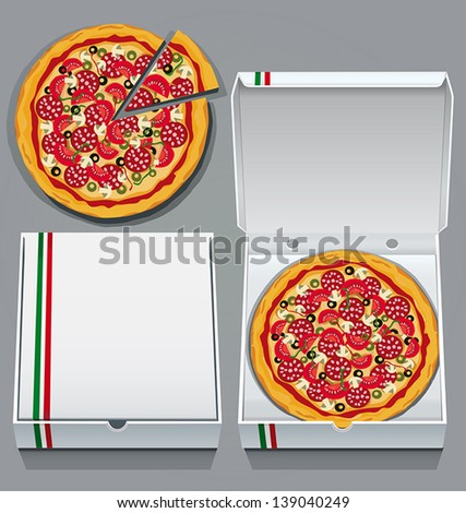 Takeaway pizzas in pizza delivery boxes - stock vector