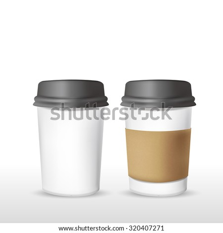 takeout coffee cup templates over white background - stock vector
