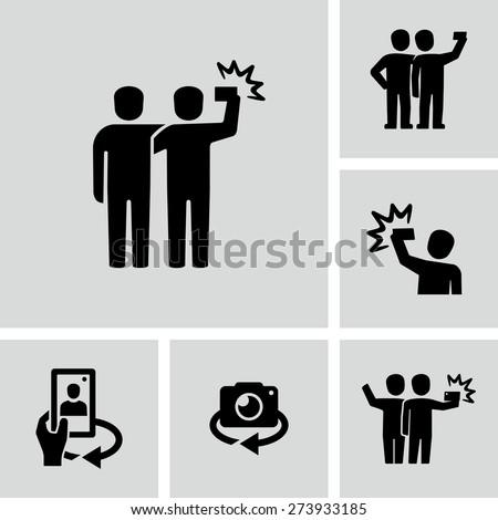 Taking selfie photo icon  - stock vector