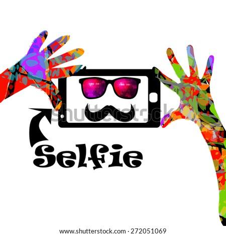 Taking Selfie Photo on Smart Phone concept. vector - stock vector