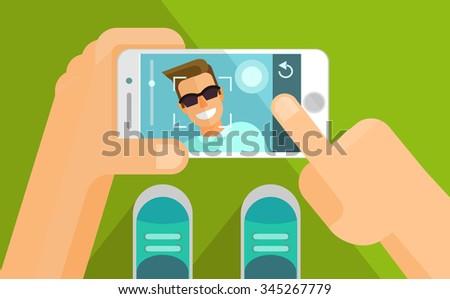 Taking selfie photo on smart phone. Vector flat illustration - stock vector