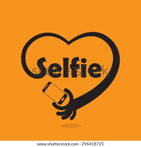 Taking selfie portrait photo on smart phone concept icon. Selfie concept design element. Vector illustration - stock vector