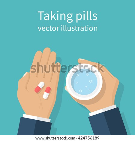 Taking the pills. Man holds in hands the capsule and a glass of water. Vector illustration flat design. Take painkillers pills. Medical treatment concept. Healthcare. Taking medical drugs.