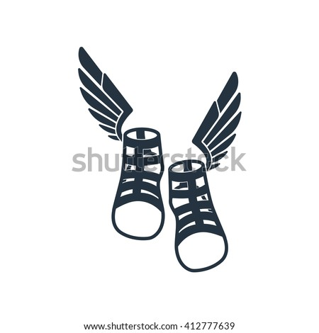 Talaria, boots front icon on white background, fly boots emblem, logotype element for template, symbol of the Greek messenger olympian god Hermes, sandals with wings