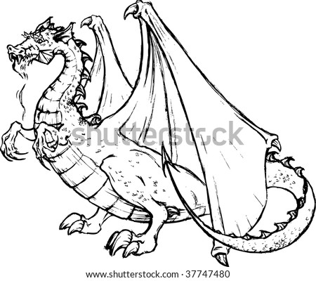 Tale dragon - stock vector