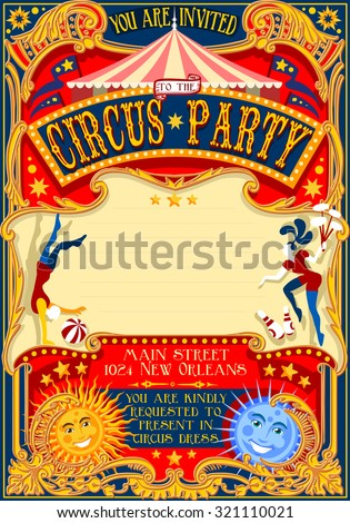 Tale of Tales You are Invited to The Court of Miracles. Circus Carnival Colorful Retro Vintage Template for your Happy Crazy Party - stock vector