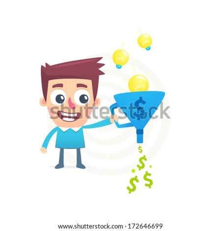 Talent to turn ideas into money - stock vector