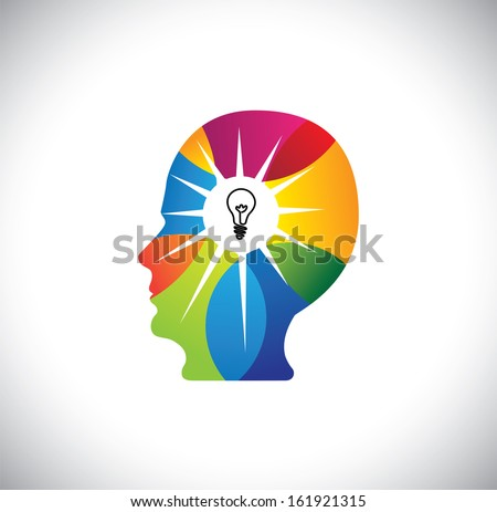 talented person with genius mind full of ideas & solutions. This vector also represents talented employee or executive, best human resource, brilliant scientist, innovative man, ingenious business man - stock vector