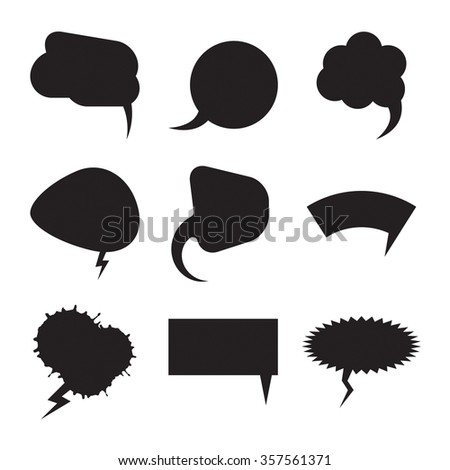 Talk and think comics bubbles silhouettes for communication set. Vector illustration balloons collection. - stock vector