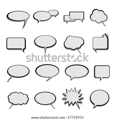 Talk, speech and thought bubbles and balloons - stock vector