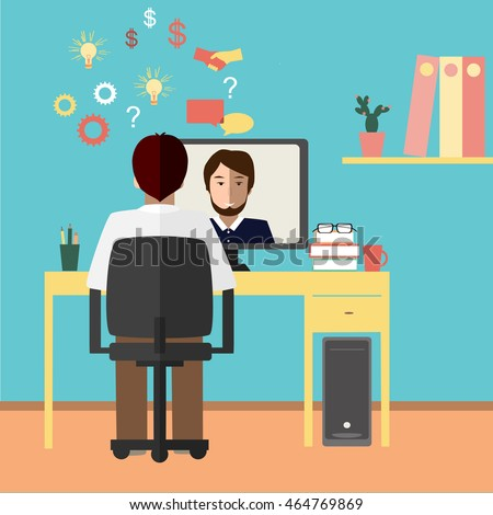 Talk through the Internet. Two businessmen communicate via Internet. Vector illustration
