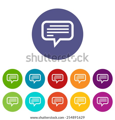 Talk web flat icon in different colors. Vector Illustration - stock vector