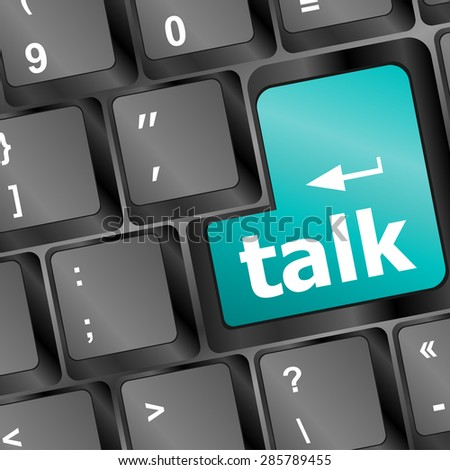 talk word with icon on keyboard keys button vector
