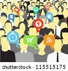 Talking and thinking people in a crowd - stock photo