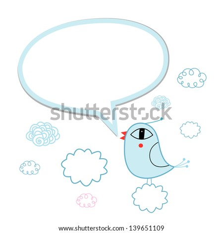talking blue bird with bubble for text