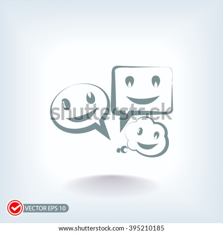 talking bubble icon on a blue background. talking bubble icon vector and jpg. Icon in a flat design. talking bubble icon with shadow - stock vector