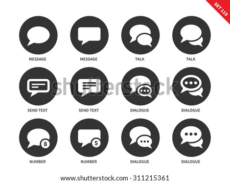 Talking bubble vector icons set. Talks and dialog concept. Icons for social networks, speech bubbles, dialogue, text, send, messages. Isolated on white background - stock vector