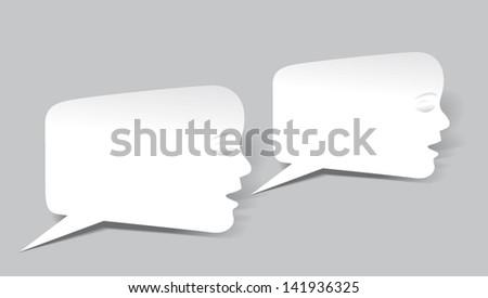 Talking face bubbles - stock vector