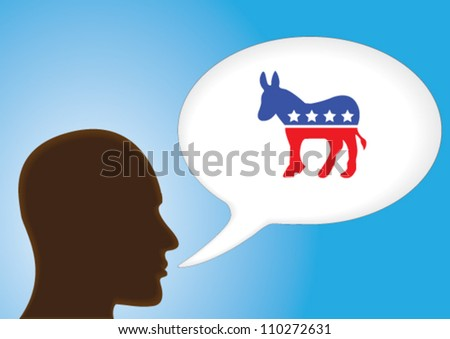 Talking Head - Speech bubble showing the symbol of Democratic Political party of United States of America. - stock vector
