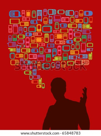 talking man in silhouette with cellphones and smartphones dialog bubble - stock vector