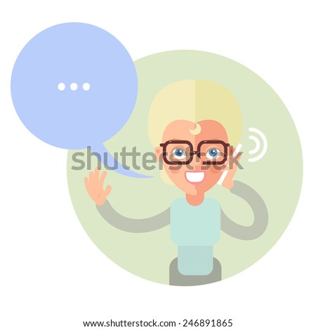 Talking on the phone woman. In the flat style. Speech bubble. - stock vector