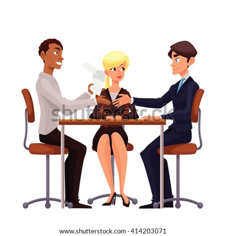 Talks at table, vector comic cartoon on a white background, a job interview, discuss important issues of a corporate, Young businessmen handshaking after negotiation,  offering his partner  - stock vector