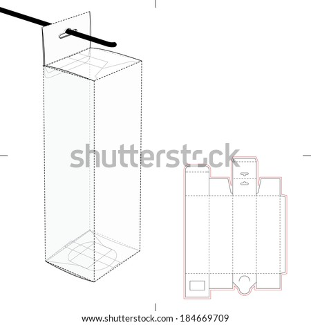 Tall box with Auto-lock Bottom and Hanging Hole and Die-cut Pattern - stock vector