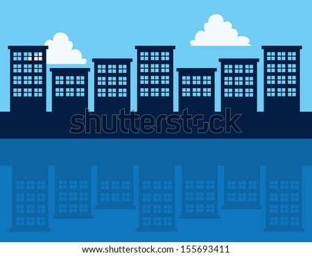 Tall buildings with reflection  - stock vector