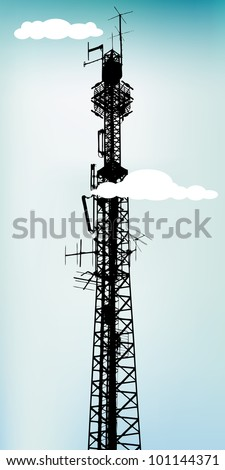 Tall communication antenna with blue sky, vector illustration - stock vector