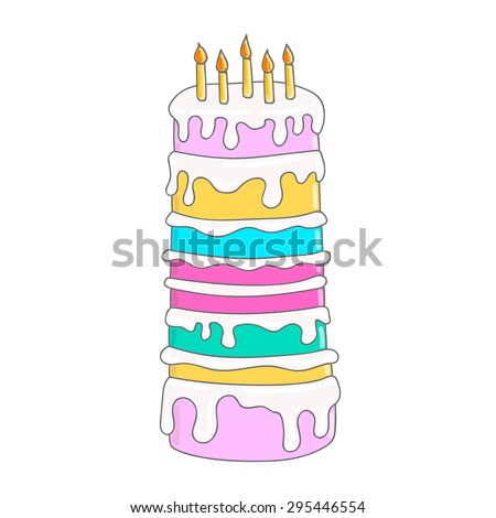 Tall Handdrawn Birthday Cake Candles Pink Stock Vector HD Royalty