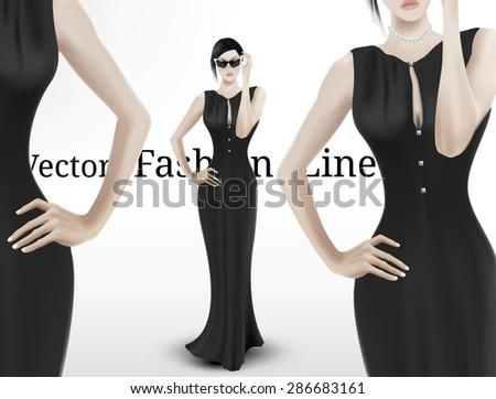 Tall handsome woman in long elegant black dress. Realistic vector illustration - stock vector