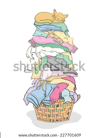 Tall Pile of Clean Clothes in Laundry Basket with Cat - vector grouped and layered easy to edit  - stock vector