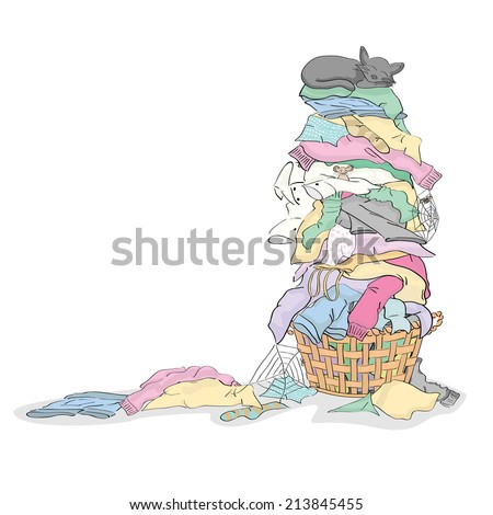 Tall Pile of Dirty Laundry in Basket with Cat and Critters - stock vector