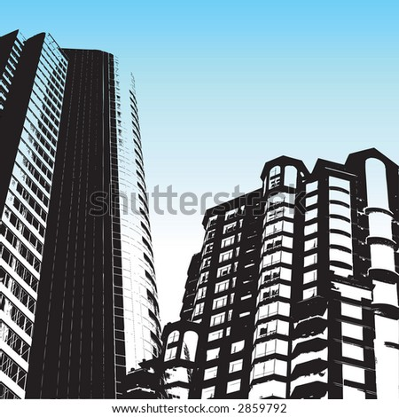 tall skyscrapers against a blue sky - stock vector