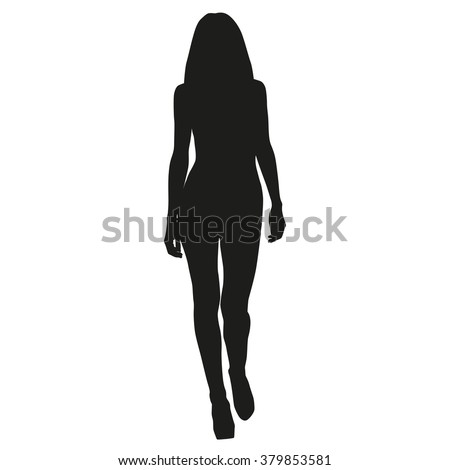 Tall slim model woman goes ahead, vector silhouette - stock vector