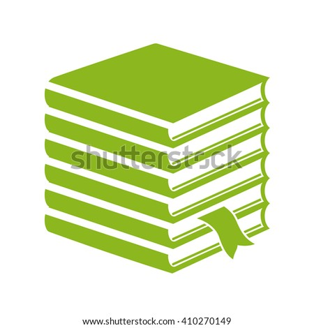 Tall stack of books icon isolated on white background - stock vector