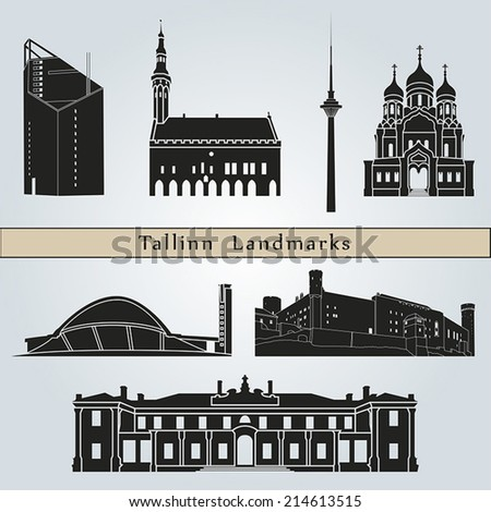 Tallinn landmarks and monuments isolated on blue background in editable vector file - stock vector