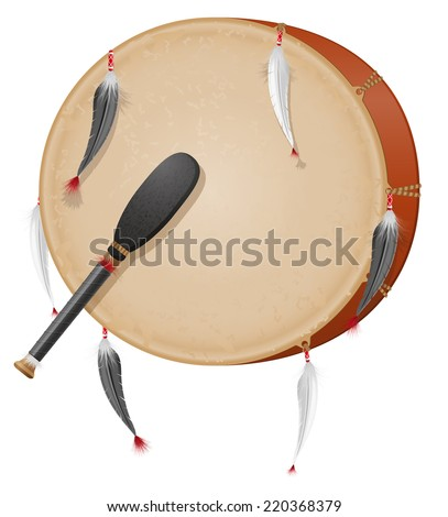 tambourine american indians vector illustration isolated on white background - stock vector