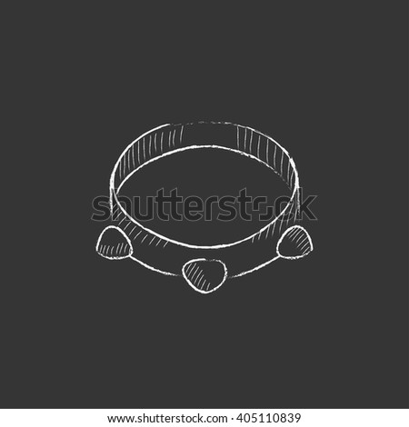 Tambourine. Drawn in chalk icon. - stock vector