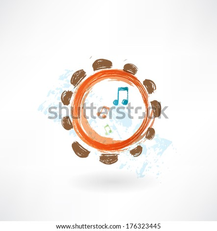 tambourine grunge icon - stock vector