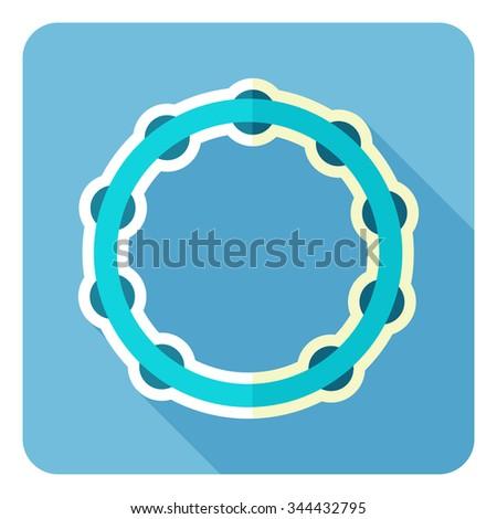 Tambourine icon. Flat design. Vector illustration. - stock vector