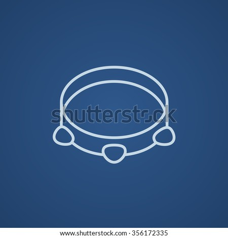 Tambourine line icon for web, mobile and infographics. Vector light blue icon isolated on blue background. - stock vector
