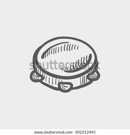 Tambourine sketch icon for web and mobile. Hand drawn vector dark grey icon on light grey background. - stock vector