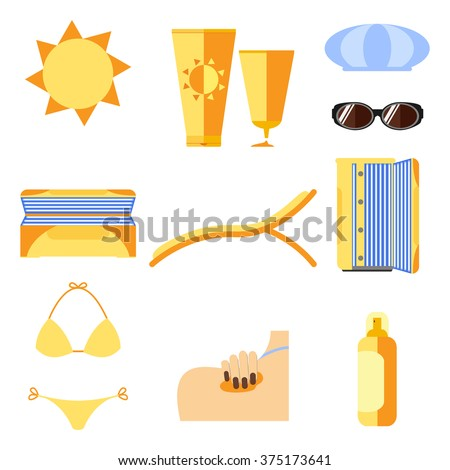 Tan icons set. Isolated on white. Sunburn and sun protection. Vector illustration. - stock vector