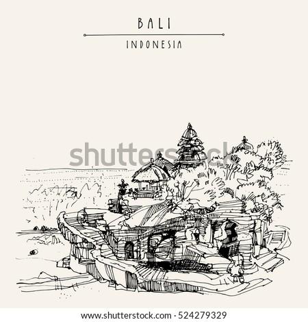 tanah lot balinese hindu temple bali indonesia asia hand drawing